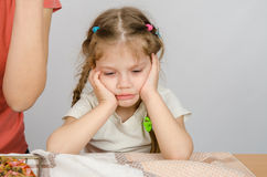 Behandla som ett barn flickan med ett ledset uttryck på hennes framsidasammanträde på köksbordet Arkivfoto