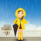 Behandla som ett barn flickan med regnrock- och regnkängor vektor illustrationer