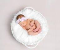 Behandla som ett barn flickan med sova för hairband som är naket, topshot Arkivfoto