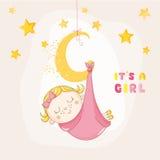 Behandla som ett barn flickan som sover på en måne - baby shower eller ankomstkortet Arkivbilder