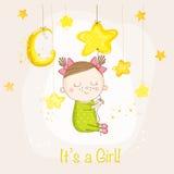 Behandla som ett barn flickan som sover på en stjärna - baby shower eller ankomstkortet Royaltyfri Foto