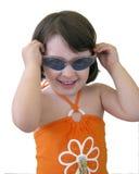 behandla som ett barn flickasolglasögon Arkivbild