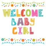 behandla som ett barn flickavälkomnandet Behandla som ett barn flickaankomstkortet Behandla som ett barn flickaduschkortet Arkivbilder
