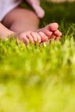 Behandla som ett barn fot i det gröna gräset på sommar som den varma dagen i staden parkerar Arkivfoton