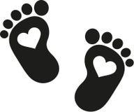 Behandla som ett barn fotspårsymbolen med hjärtor royaltyfri illustrationer