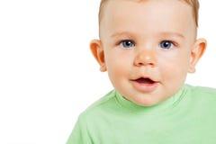behandla som ett barn gullig isolerad white för pojkebarnet Arkivfoton