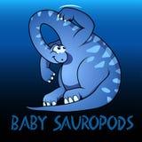 Behandla som ett barn gulliga teckendinosaurier för Sauropods Arkivbilder
