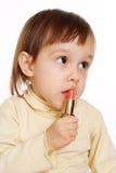 behandla som ett barn härlig läppstift Royaltyfri Foto