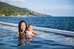 Behandla som ett barn ha gyckel i simbassängen med modern Royaltyfri Foto