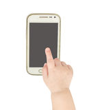Behandla som ett barn handen som pekar den smarta telefonen för vit Fotografering för Bildbyråer
