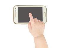 Behandla som ett barn handen som pekar den smarta telefonen för vit Arkivfoto