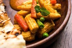 Behandla som ett barn havremasalaen eller curry som tjänas som med indiskt bröd eller roti Arkivfoton