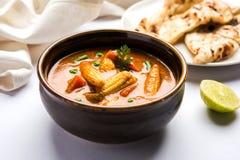 Behandla som ett barn havremasalaen eller curry som tjänas som med indiskt bröd eller roti Royaltyfri Bild