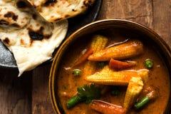 Behandla som ett barn havremasalaen eller curry som tjänas som med indiskt bröd eller roti Fotografering för Bildbyråer