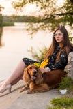 Behandla som ett barn hunden som går övning med ägare för vård- begrepp, i aftonen på, parkerar bakgrund, solnedgång royaltyfria bilder
