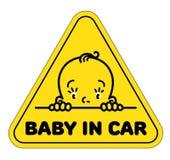 Behandla som ett barn i bilklistermärke Rolig framsida av pojken eller flickan Royaltyfri Illustrationer