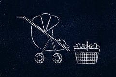 Behandla som ett barn i sittvagn bredvid shoping korg mycket av objekt Arkivbilder
