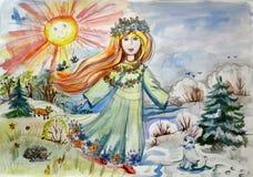 Behandla som ett barn illustrationen av våren är kommande Arkivbilder