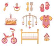behandla som ett barn illustrationen för symbolen för tecknad filmbarnflickan little Arkivfoton