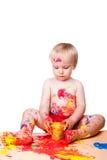 behandla som ett barn isolerad målande white för pojken gouachen Arkivfoto