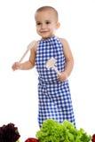 behandla som ett barn isolerad white för bakgrund matlagning Royaltyfri Foto
