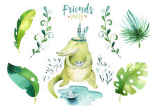 Behandla som ett barn isolerade illustrationen för djur barnkammaren för barn Tropisk teckning för vattenfärgboho, gullig krokodi Royaltyfri Fotografi