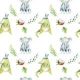 Behandla som ett barn isolerade sömlösa modellen för djur barnkammaren Tropisk teckning för vattenfärgboho, krokodil för tropisk  stock illustrationer