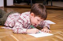 behandla som ett barn isolerade ungen för pojketeckenteckningen illustrationen arkivfoto