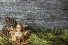 Behandla som ett barn Jesus Christmas bakgrund Royaltyfri Fotografi