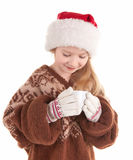 behandla som ett barn julflickan Royaltyfri Fotografi