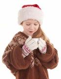 behandla som ett barn julflickan Arkivbilder