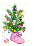 behandla som ett barn julflickan Arkivbild