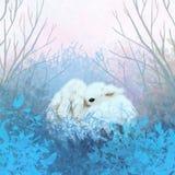 Behandla som ett barn kaniner på skymning royaltyfri illustrationer