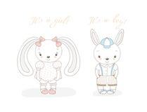 Behandla som ett barn kaniner pojke och flicka royaltyfri illustrationer