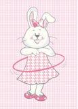 Behandla som ett barn kaninflickan med hulla-beslaget Arkivbilder