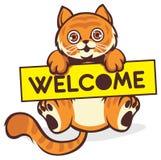 Behandla som ett barn katthållen ett välkommet tecken Royaltyfri Fotografi