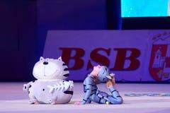 'Behandla som ett barn koppen - BSB-bank' barns konkurrenser i gymnastik, 05 December 2015 i Minsk, Vitryssland Royaltyfri Fotografi