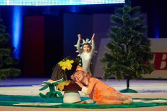 'Behandla som ett barn koppen - BSB-bank' barns konkurrenser i gymnastik, 05 December 2015 i Minsk, Vitryssland Arkivbilder