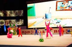 'Behandla som ett barn koppen - BSB-bank' barns konkurrenser i gymnastik, 05 December 2015 i Minsk, Vitryssland Fotografering för Bildbyråer