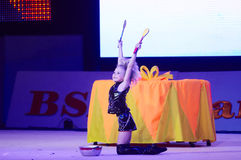 'Behandla som ett barn koppen - BSB-bank' barns konkurrenser i gymnastik, 05 December 2015 i Minsk, Vitryssland Royaltyfri Bild