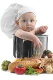 behandla som ett barn krukan för knubbig matlagning för kocken den gulliga Royaltyfria Bilder