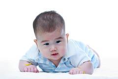 behandla som ett barn krypa gulligt Förtjusande behandla som ett barn flickan, på vit bakgrund Royaltyfri Bild