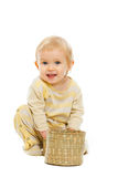behandla som ett barn le white för bakgrundskorgen Arkivbild