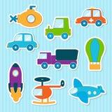 Behandla som ett barn leksakklistermärkear stock illustrationer
