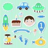 Behandla som ett barn leksakklistermärkear royaltyfri illustrationer