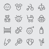 Behandla som ett barn linjen symbol royaltyfri illustrationer