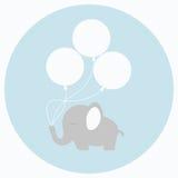 Behandla som ett barn lite elefanten med stora ballonger Royaltyfria Bilder
