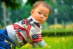 Behandla som ett barn lite krypningen på gräsmattan Arkivfoton