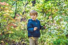 Behandla som ett barn lite pojken i hösten parkerar fotografering för bildbyråer