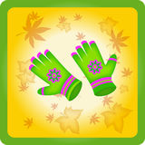 Behandla som ett barn ljusa handskar Royaltyfri Bild